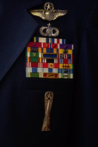 """Some of M/General """"Bud"""" Breckner's decorations and badges. Bud was a Command Pilot, a Senior Combat Controller & a Master Missileman. He was also Commander of 17th Air Force in Europe."""