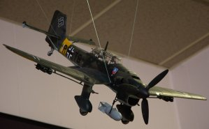 "Diving German ""Stuka"". King of the attack dive bombers."