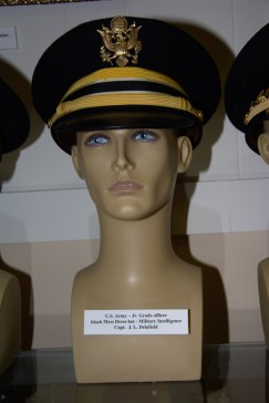US Army Junior Grade Military Intelligence officer black mess dress hat worn by Capt. J. L. Delafield.