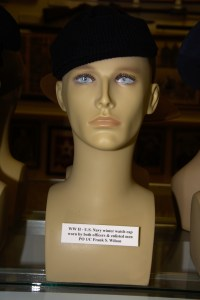 World War II US Navy winter watch cap for both officers and enlisted men worn by PO 1/C Frank S. Wilson.