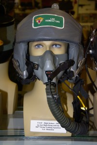 US Air Force lfight helmet worn by Lee Humiston in 2003 for his last flight with the 560th Flying Training Squadron.