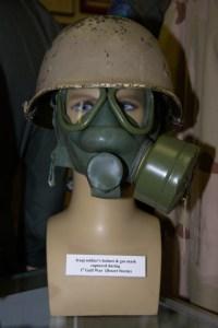 First Gulf War/Desert Storm Iraqi soldier's helmet and gas mask