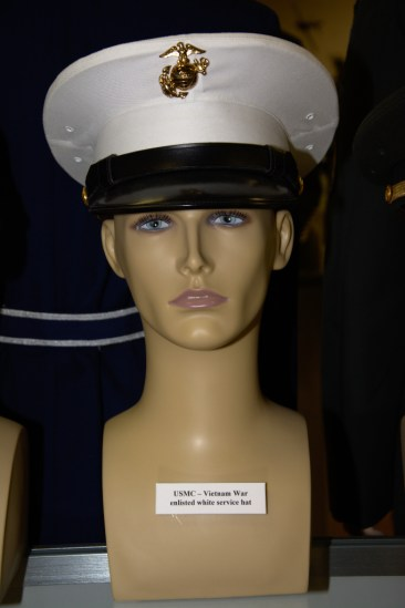 Vietnam War US Marine Corps enlisted white service hat.