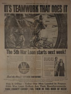 Using the Allied Invasion at Normandy to sell war bonds.