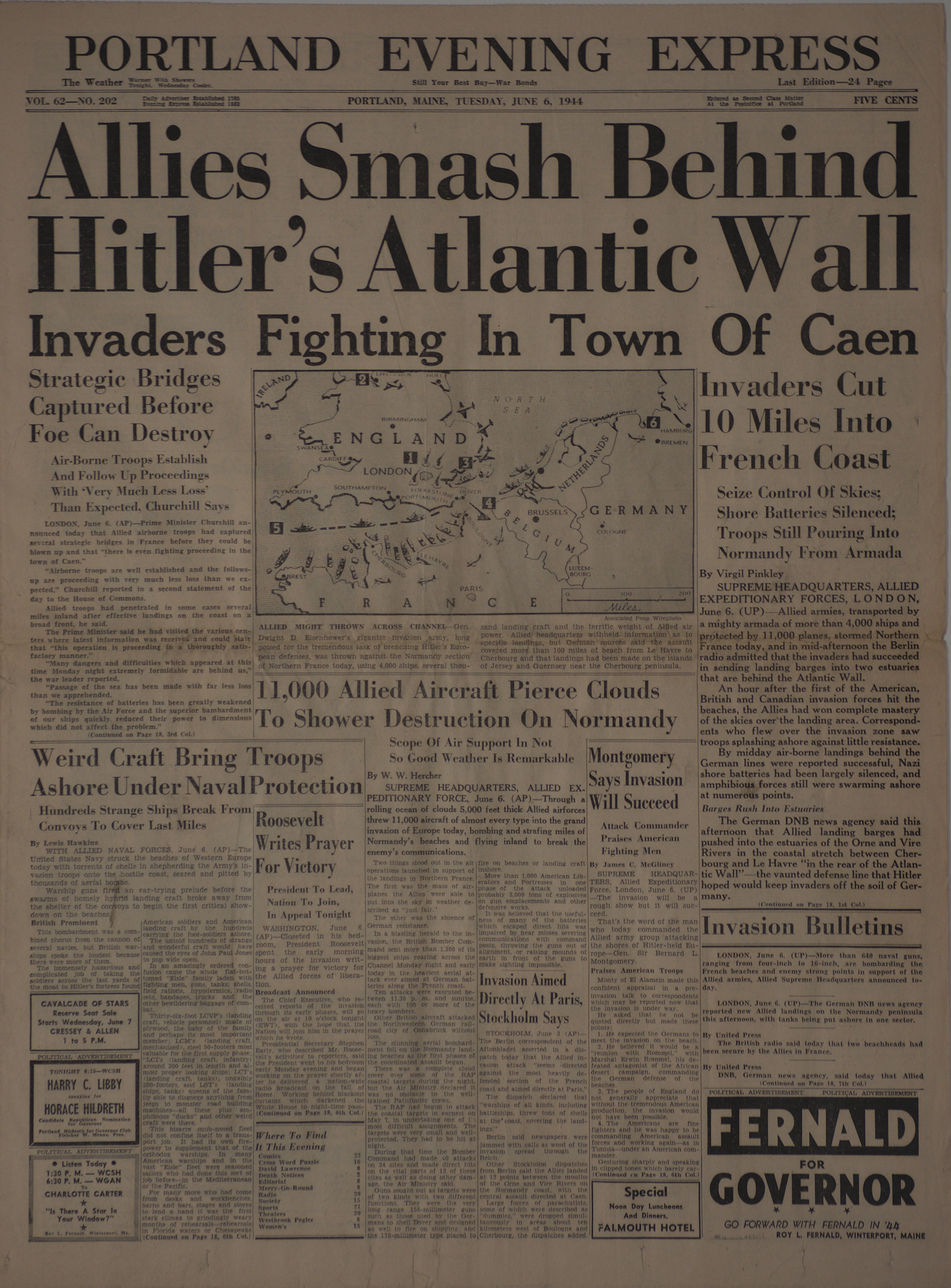 Portland Evening Express reporting about Normandy.