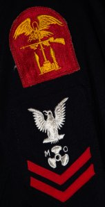 The Navy's Normandy (D-Day) patch on the shoulder of MoMM 2/C Robert Maclellan, USN.