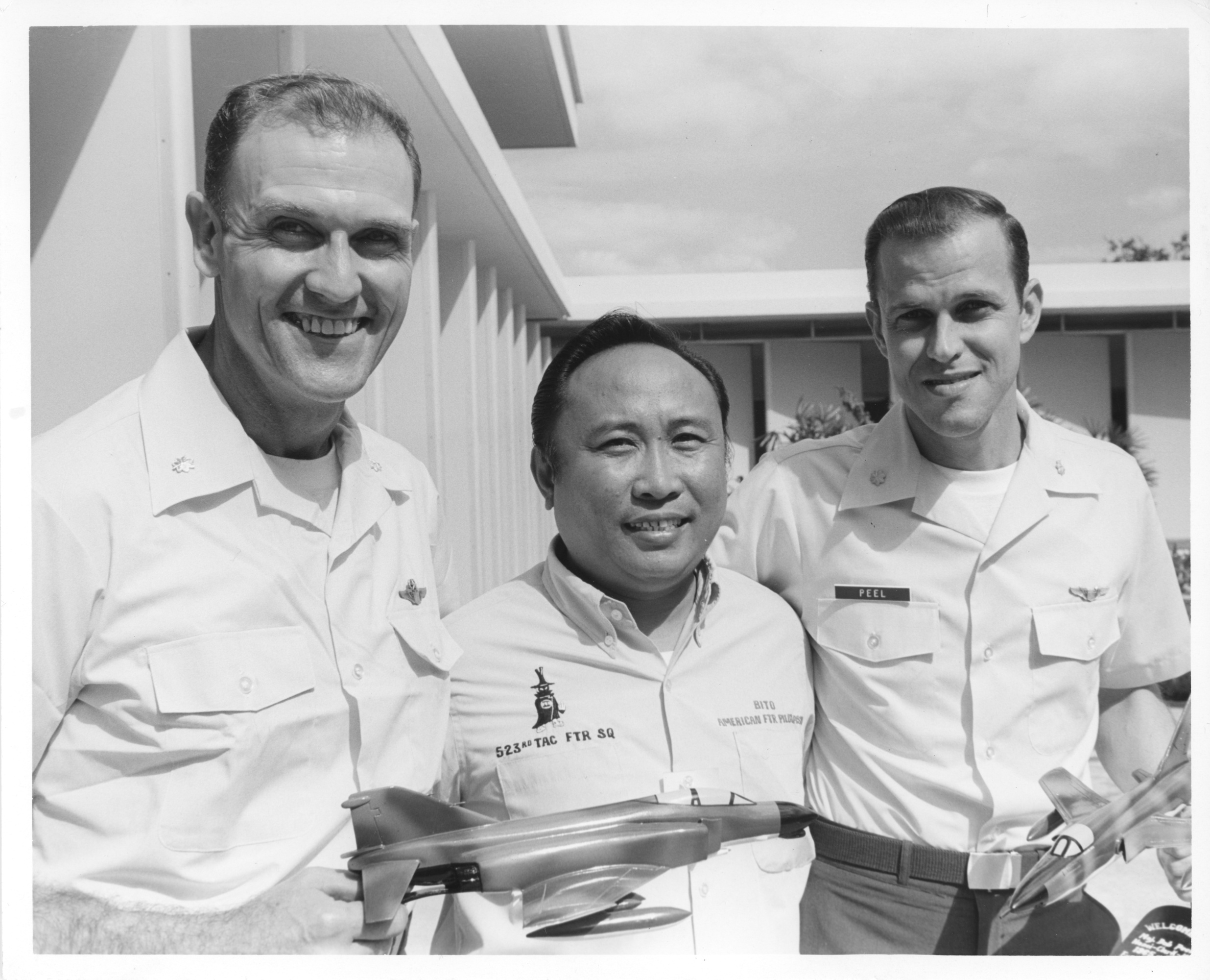A.J. Meyer (left), Bob Peel (right) with Bito at Clark AFB 2-1973