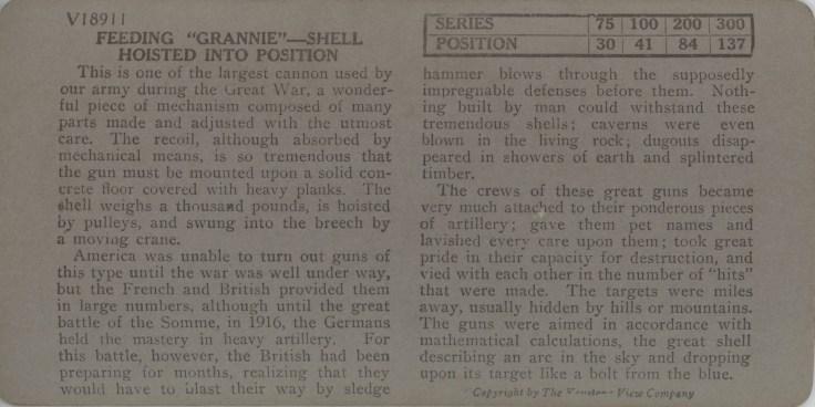"""Feeding """"Grannie"""" - Shell Hoisted Into Position"""