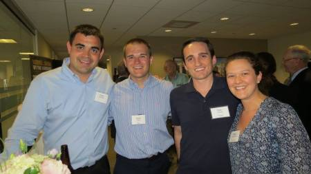 Attending last June's Boston-Maine reception were (L to R) Owen McCarthy, a UMaine graduate and president of MedRhythms, a healthcare startup with a foot in both Boston and Portland; Dustin Dubay, a Husson University grad and an associate at PricewaterhouseCoopers in Boston; Matt Ciampa, another UMaine grad who now works at Boston-based real estate startup Pingup; and Maria Goodman, who works at EnerNOC in Boston.