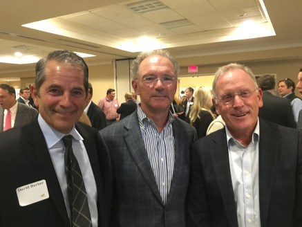 David Roux (center), Maine native and co-founder of Silver Lake Partners, one of the largest technology private equity firms in the country, with David Barber (left) and Corky Ellis, founder and former chairman of Kepware Technologies and MVF's board chair.