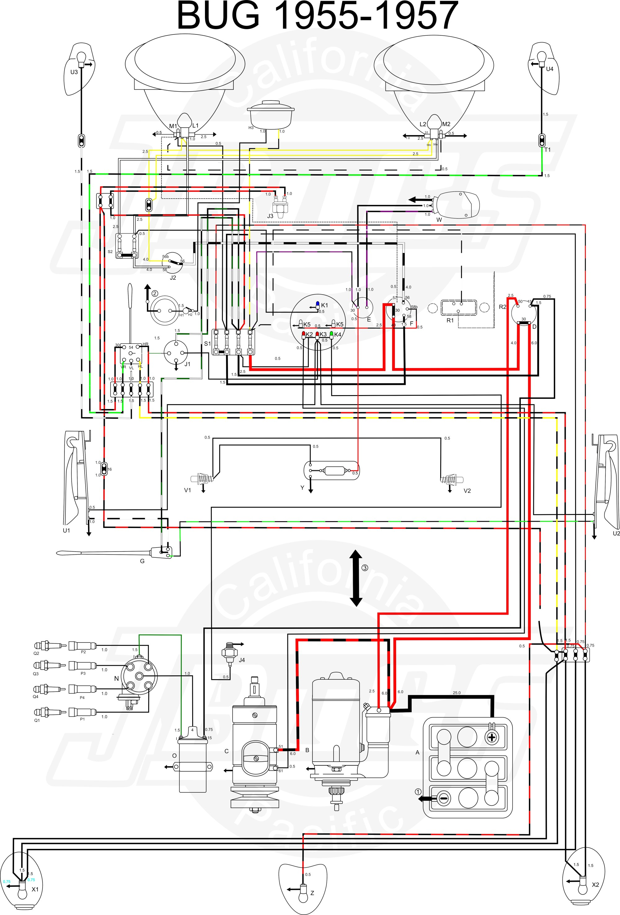 hight resolution of vw tech article 1955 57 wiring diagram vw wiring diagram 1965 vw bug wiring