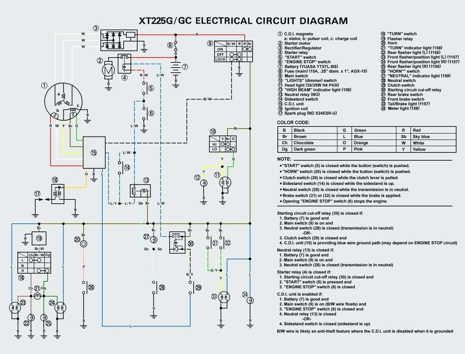 hight resolution of yamaha xt 550 wiring diagram wiring diagram technic yamaha xt 125 wiring diagram
