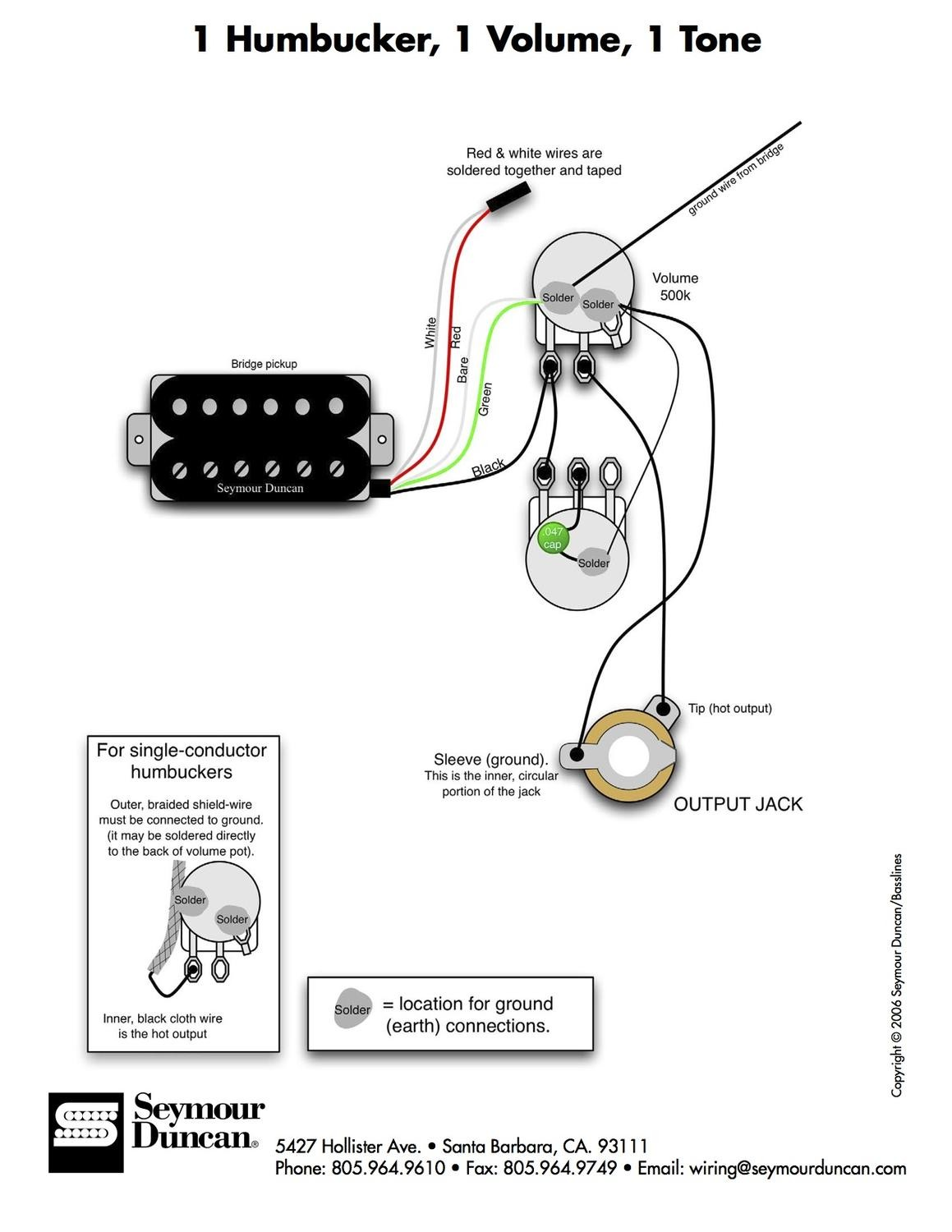 electric guitar single pick up wiring schematic