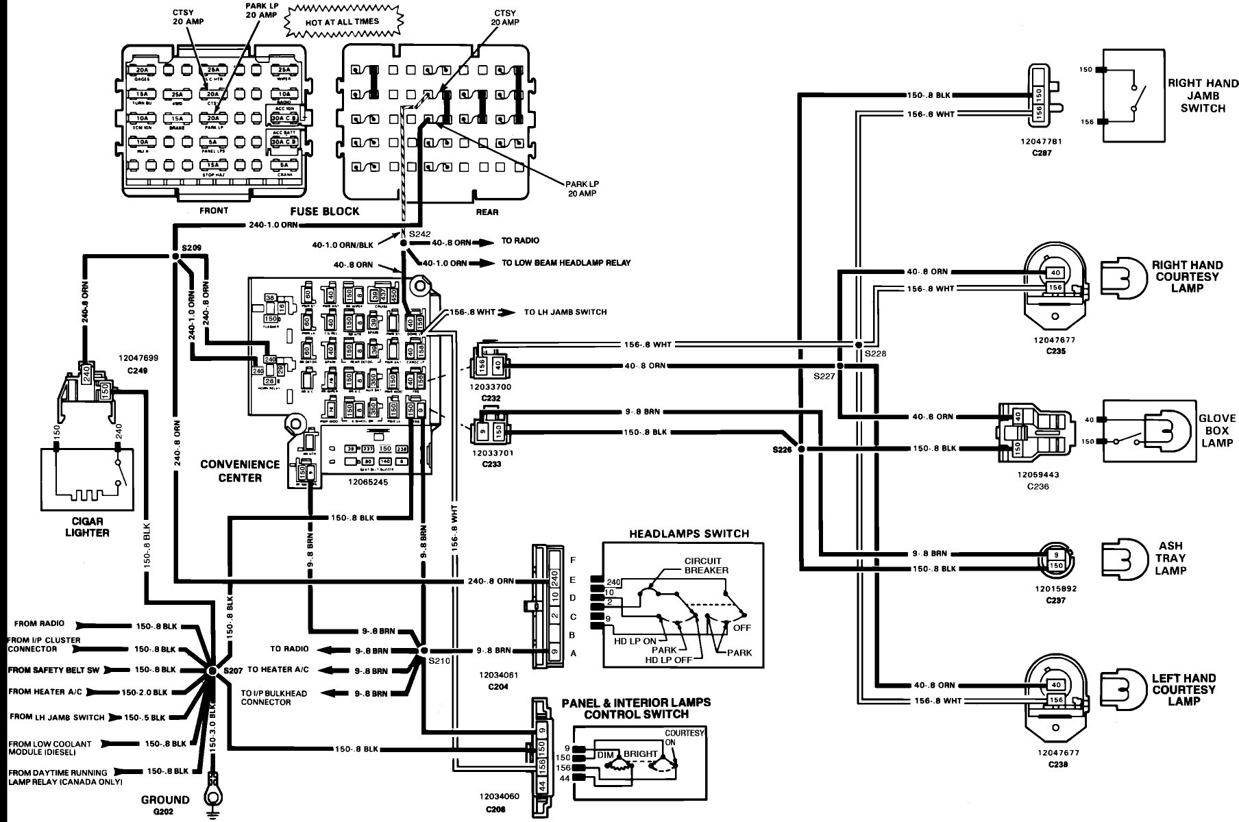 1983 chevy headlight dimmer switch wiring diagram