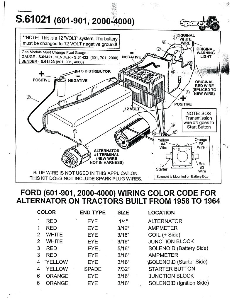 ford 1300 tractor alternator wiring diagram