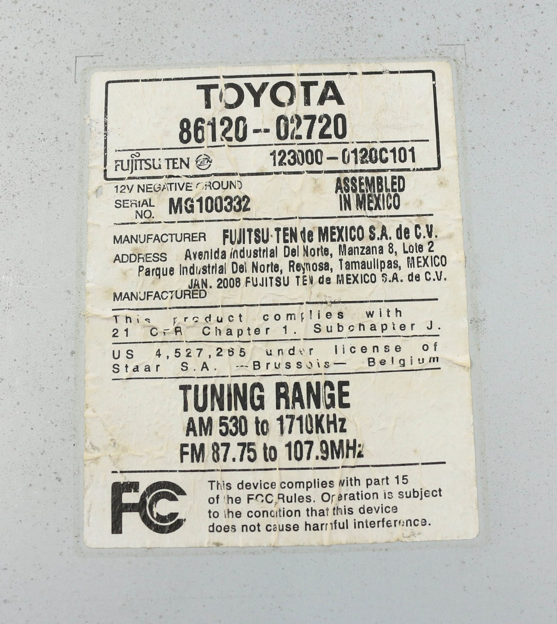 hight resolution of toyota 86120 wiring diagram electrical fujitsu 0c020 trusted diagrams radio connector pinout