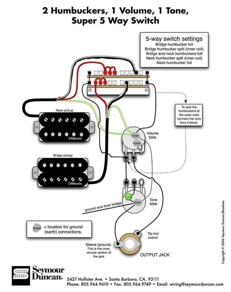 Wiring Diagram 1 Humbucker Volume Ymour Duncan Wire