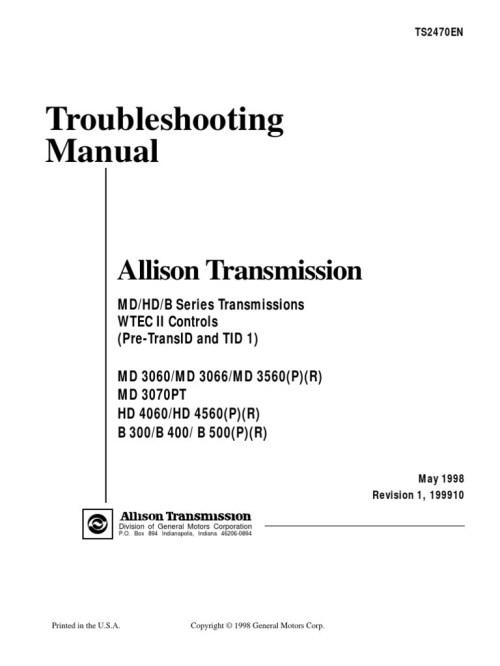 Allison Transmission Wiring Diagram Allison Transmission