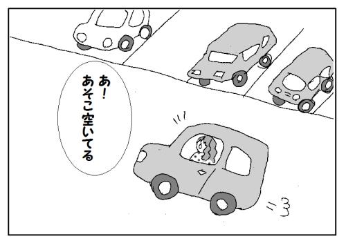 駐車場の車の止め方