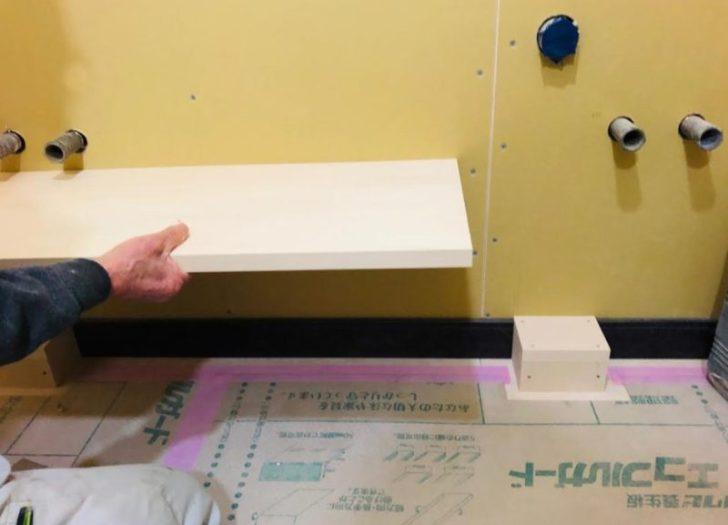 2階洗面台の壁排水・壁給水は・・・造作板の高さにも影響が