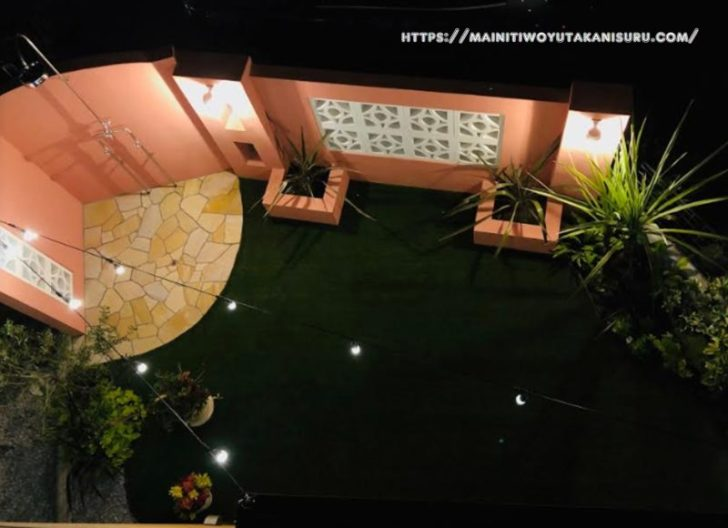 【入居後4ヵ月WEB内覧会①】ストリングスライトがあしらわれたお庭