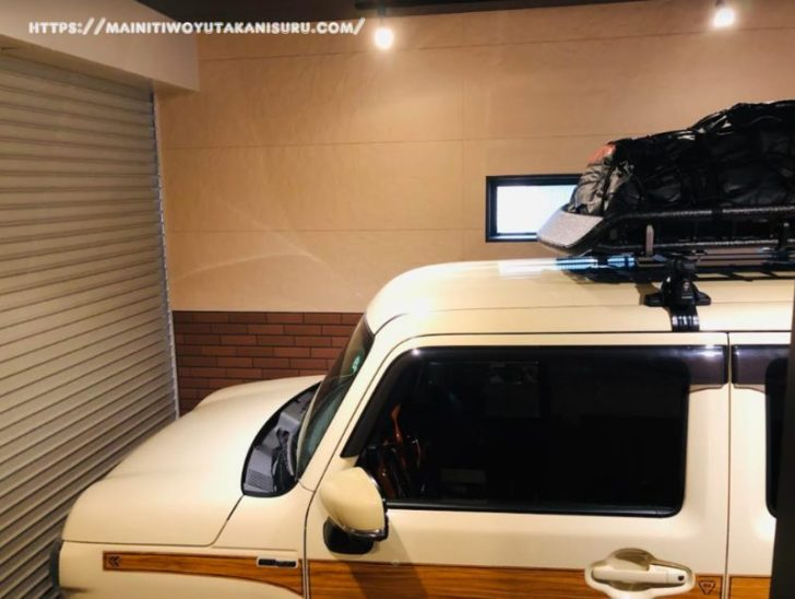 新型ハスラー(MR52)のルーフラックに防水カーゴバッグを試し置き!