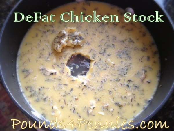 Slow cooker meals - Defat chicken stock