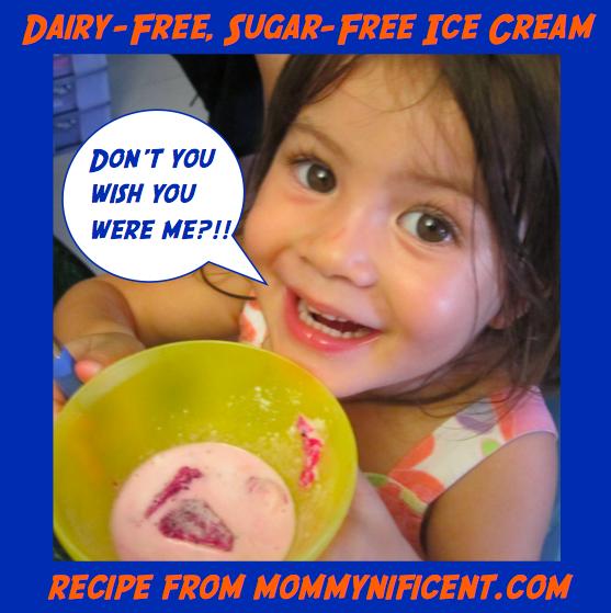 Dairy-free, sugar-free, don't you wish you were me? vanilla and strawberry ice cream