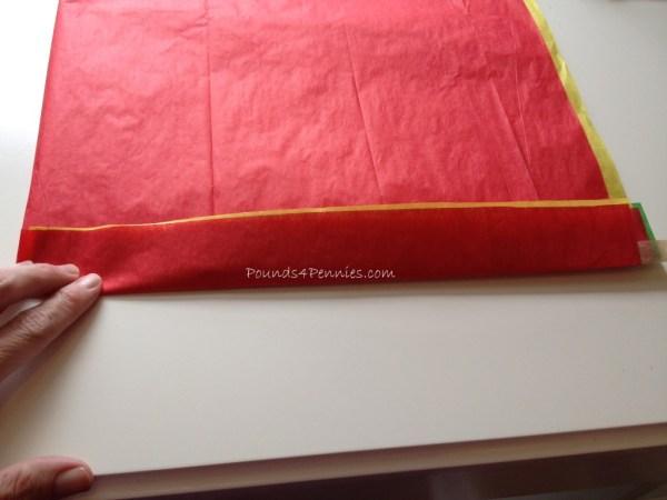 folding Tissue paper turkey tail craft