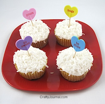 Valentine conversation heart Cupcakes idea