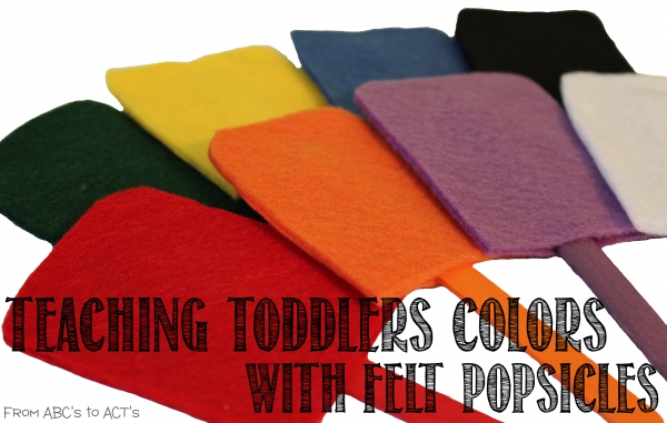 Teaching toddlers colors using diy felt popsicles. Great Rainbow Crafts for kids