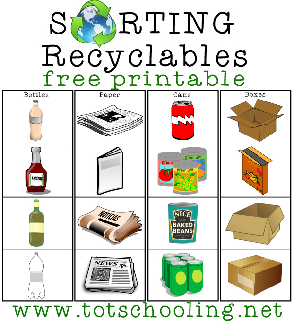 Sorting Recyclables Free Printable Earth Day Activities