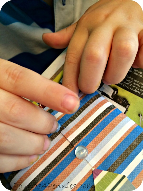 Gluing Buttons on Chocolate Bar Wrappers