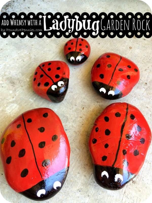 Painted Ladybug Garden Rock