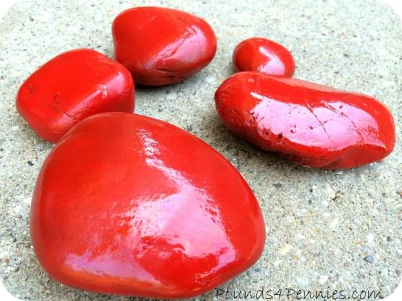 Red Painted Ladybug Rocks