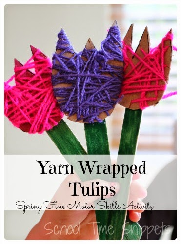 Yarn Wrapped Tulips Flower Crafts to Make