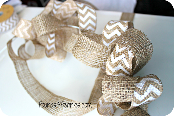 Burlap Ribbon on wire