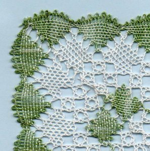 Close up Rectangular Torchon bobbin lace pattern