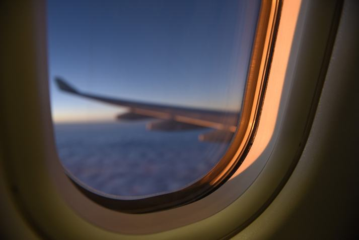 Airplane Window Sunset
