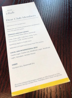 Club Lounge drinks list. (Photo: MainlyMiles)