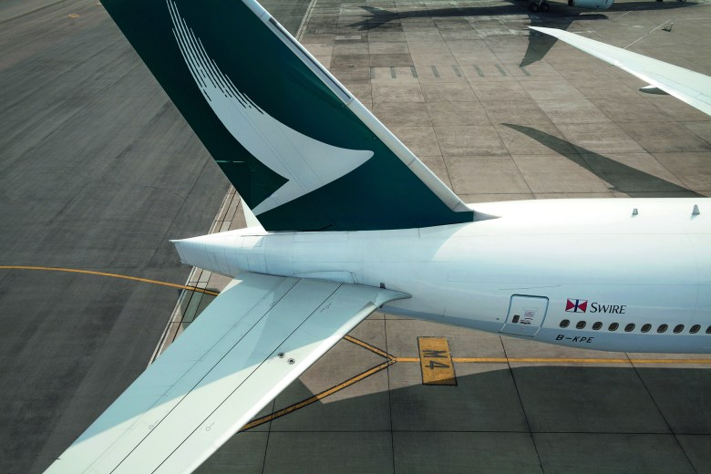 CX B77W Tail Overhead (Cathay Pacific)