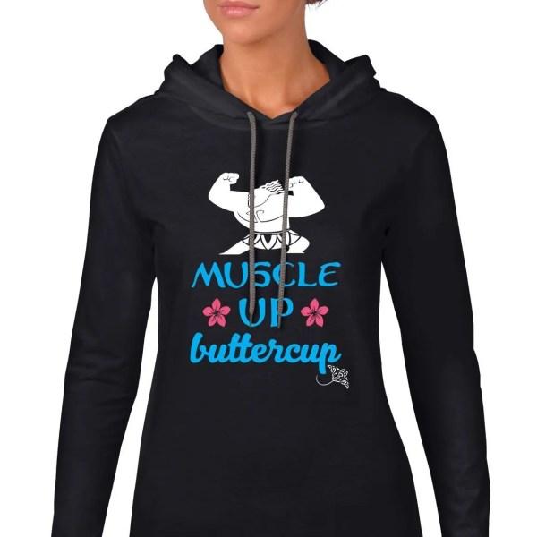 Muscle-up-buttercup-lightweight-hoodie-black