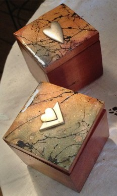 Handmade boxes at the Trolley.
