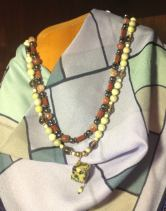 Griffith makes a wide range of custom crafts for the shop, including beautiful necklaces like this.