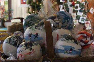 Hand-painted ornaments by Nancy Hilton.