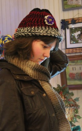 Beautifully soft hand-knit hat by Christine.