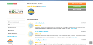 Main Street Solar on SolarReviews.com