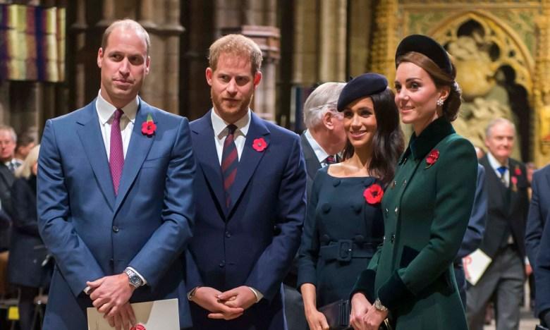 Принц Гарри и принц Уильям с женами