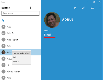 Cara Mudah Membuat Shortcut Kontak/Contact di Start Menu Windows 10