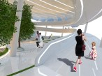 Hyperlapse: Walkway Bridge taking passengers to Mid-Height level where they get a good view of the interior and exterior surroundings.